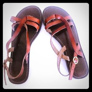 Vintage Brown Leather Sandals 7